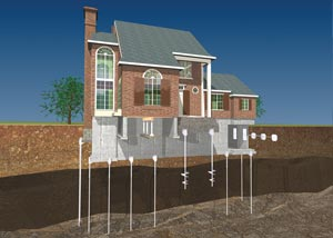 a diagram of how a foundation is repaired in Bay Shore