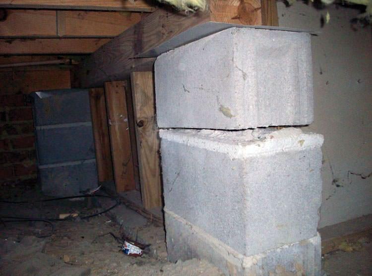 Collapsing Crawl Space Support Pillars Bellmore