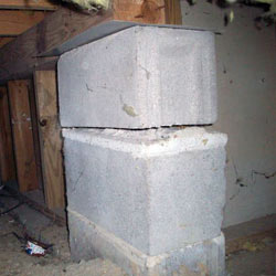 Collapsing crawl space support pillars Bellmore